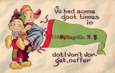 """Dutch boy and girl pennant VE HAD SOME GOOT TIMES IN """"Springville, NY"""""""