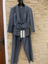 Stunning New ALEXANDER McQUEEN Grey Blue Striped Capri Trousers Jacket Suit