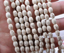50pcs charm white Howlite Turquoise oval Loose Beads Gemstone 6x8mm ZH706