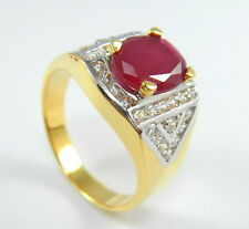AWESOME THAI RUBY COLOR CZ Size 12 Ring 24K Yellow & 18K White Gold GP Jewelry