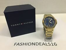 Brand New Tommy Hilfiger Gold Blue Crystals 1781317 MSRP $135 Watch