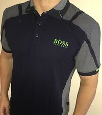 Hugo Boss Polo Top Taglia 3xl XXXL MEN'S BNWT Nuovo Blu Navy Modern Fit Green Label