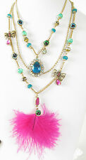 Betsey Johnson The Eyes Have It! Eye Pink Feather Illusion Necklace