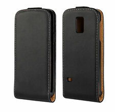 Black Genuine Real Leather Classic Flip Case Cover for Samsung Galaxy S5 Mini
