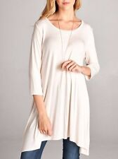 Women's Long Tunic Solid Scoop Neck Top 3/4 Sleeve Trapeze Dress Loose Shirt S~L