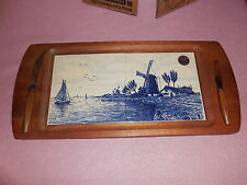 "Vintage Delft Blue Holland Cheese Board Tray 17""x8"""