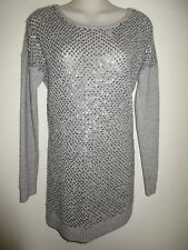 C By BLOOMINGDALES NWT $268.00 Sequined Gray 2-Ply 100% Cashmire Sweater, M