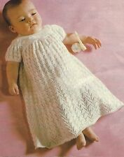 Baby Christening Dress Beautiful Lace Knitting Pattern  0-6months  3ply  842