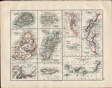 1914 MAP ~ MADAGASCAR CANARY ISLANDS CAPE TOWN THE CAPE CAIRO ENVIRONS MAURITIUS