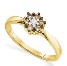 Lovely! 100% 10K Yellow Gold Chocolate Brown & White Diamond Cluster Ring .25ct