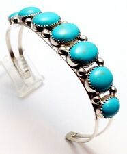 Navajo Turquoise Sterling Silver Cuff Bracelet - Phillip Yazzie