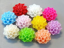 20 Dahlia Resin Flowers 15mm 10 Colors Cabochon F1