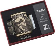 Zippo Choice Catalog Steampunk Scull Armor Antique Brass MultiCut 29268 NEW