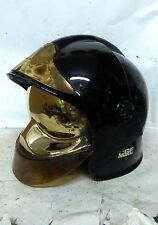 Gallet CGF BLACK  F1 Firefighter helmet GOLD shield, NOMEX scarf,complete RARE
