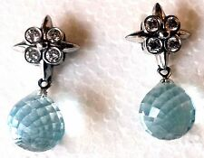 TIFFANY & Co. AQUAMARINE + DIAMOND Drop BRIOLETTE 'Lace' .950 PLATINUM Earrings