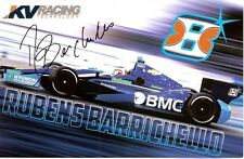 2012 RUBENS BARRICHELLO signed INDIANAPOLIS 500 PHOTO CARD POSTCARD INDY CAR BMC