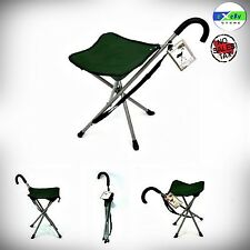 WALKING STICK CANE CHAIR FOLDING PORTABLE DURABLE HANDLE CAMP TRIPOD W/ STOOL