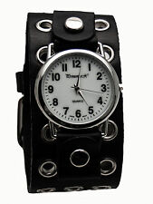 PRIMEMAX:HEAVY LEATHER BIKER METAL STUDS HOLE STYLE BAND LARGE CASE ANALOG WATCH