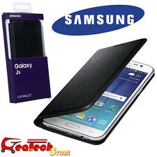Custodia Flip Wallet Originale Samsung per Galaxy J5 J500 Cover in Pelle Nera