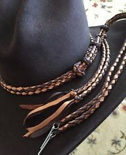 HANDMADE HAT BAND BRAIDED LEATHER WESTERN HATBAND STAMPEDE SET BUCKSKIN BROWN