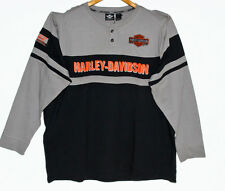 Mens Harley-Davidson Shirt Cotton Long Sleeve Black Gray Pre-Luxe Graphic 2XL