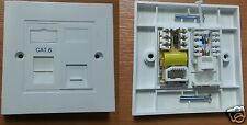 2 Gang Faceplate RJ45 Gigabit Data Cat6 Module + Genuine BT Master Socket -5e