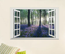 3D Window View Lavender Forest Wall Decals Removable sticker Vinyl Mural Decor