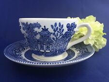 Churchill Blue Willow Flat Tea Cup and Saucer English Pottery