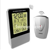 Digital LCD Indoor/Outdoor Wireless Weather Station Clock Calendar Thermometer .