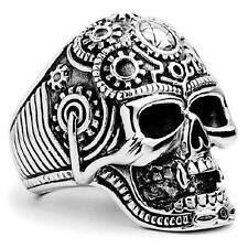 HOT SALE solid  stainless steel flower death skull bone skull ring big size14