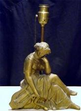 1920 Art Nouveau Spelter Table Lamp Clock Topper Greek Courtesan Contemplating
