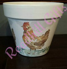 HAND decoupaged SHABBY CHIC GALLINA plant pot