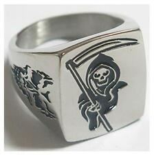 GRIM REAPER SICKLE STAINLESS STEEL RING size 8 silver metal S-510 skull face NEW