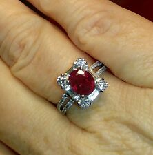 18K White Gold Natural Ruby and Diamond Halo Ring. 2.45 TCW Great Value