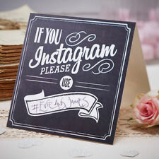 5 Vintage Chalkboard Style 'If You Instagram' Wedding Table Tent Card Signs