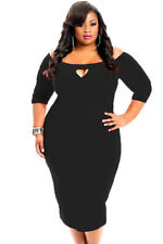 NEW Black Bodycon Fitted Keyhole Party Formal Work Dress Size 16 18 20 22 24 UK