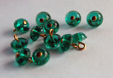 VINTAGE ANTIQUE TINY EMERALD GREEN GLASS SMALL BUTTON 12 BUTTONS BEADS 7mm DOLL