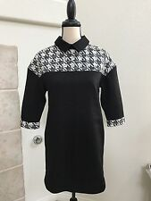 ASM Black Shift Dress with Collar 3/4 Sleeve Houndstooth Embroidered size M