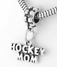 SILVER HOCKEY MOM DANGLE BEAD FIT EUROPEAN BRACELET