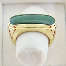 Vintage ? 14K Gold Unisex Saddle Ring w/ 23mm Green JADEITE Jade  (9.9g, size 7)