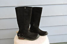 Women's Sorel Slimboot Riding Boots Black Leather Size 9.5
