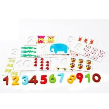 Wooden 10 Number Colorful Puzzle Arithmetic Digital Baby Kid Educational Toy