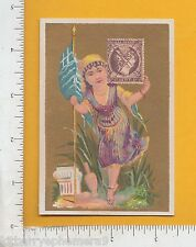 7979 Greece national flag postage stamp costume c 1890 trade card philatelic