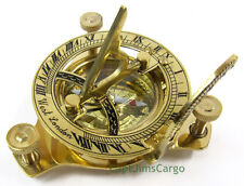 "Brass Compass & Folding Sundial 3.25"" w/ Wooden Case Decorative Nautical Gift"