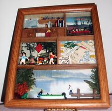 Office Wooden Shadow Box Diorama vacation, retirement theme Decorative EUC