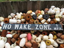 48 INCH WOOD HAND PAINTED NO WAKE ZONE 5MPH SIGN NAUTICAL SEAFOOD (#S519)