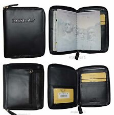 New Leather passport cover wallet. Zip around Pass port case card ATM ID Holder*