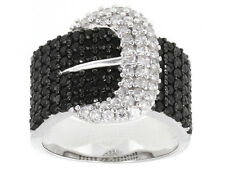NATURAL BLACK SPINEL AND WHITE ZIRCON BUCKLE RING 2.75 CTW SIZE 8