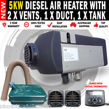 NEW 5KW 24 Volt Diesel Air Heater with 2 x Vents, Duct & Tank For Caravan, RV