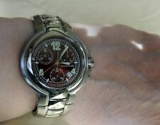 Mauboussin Marbore Burgundy Stainless Steel Chronograph Wrist Watch Luminescent